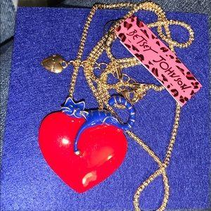 "New Betsy Johnson Pin/necklace heart blue cat 2x2"""